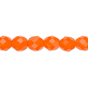 bead, czech fire-polished glass, opaque orange, 8mm faceted round. sold per 16-inch strand, approximately 50 beads.