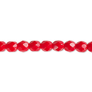 bead, czech fire-polished glass, opaque red, 6mm faceted round. sold per pkg of 1,200 (1 mass).