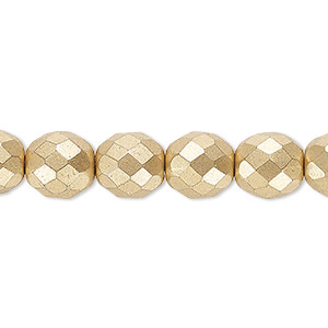 bead, czech fire-polished glass, opaque satin gold, 10mm faceted round. sold per 16-inch strand, approximately 40 beads.