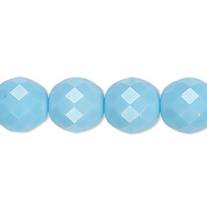 bead, czech fire-polished glass, opaque turquoise blue, 12mm faceted round. sold per 16-inch strand, approximately 35 beads.