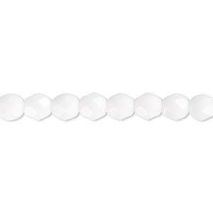 bead, czech fire-polished glass, opaque white, 6mm faceted round. sold per 16-inch strand, approximately 65 beads.