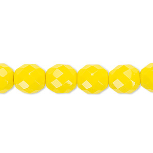 bead, czech fire-polished glass, opaque yellow, 10mm faceted round. sold per 16-inch strand, approximately 40 beads.