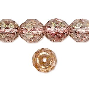 bead, czech fire-polished glass, peach and brown, 12mm faceted round. sold per 16-inch strand.