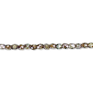 bead, czech fire-polished glass, peridot green, 3mm faceted round. sold per pkg of 1,200 (1 mass).