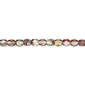 bead, czech fire-polished glass, pink and green luster, 4mm faceted round. sold per 16-inch strand.