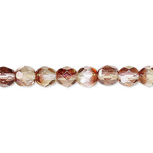 bead, czech fire-polished glass, pink and peach luster, 6mm faceted round. sold per 16-inch strand.