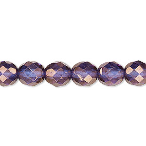 bead, czech fire-polished glass, purple and gold, 8mm faceted round. sold per 16-inch strand, approximately 50 beads.