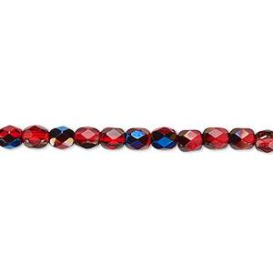 bead, czech fire-polished glass, red blue iris, 4mm faceted round. sold per 16-inch strand.
