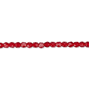 bead, czech fire-polished glass, ruby red, 3mm faceted round. sold per 16-inch strand, approximately 130 beads.