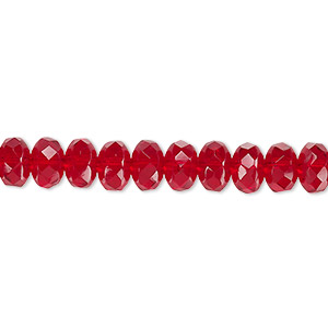 bead, czech fire-polished glass, ruby red, 7x5mm faceted rondelle. sold per 16-inch strand.