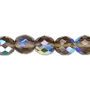 bead, czech fire-polished glass, smoke ab, 10mm faceted round. sold per 16-inch strand.