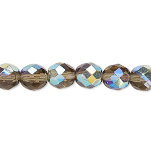 bead, czech fire-polished glass, smoke ab, 8mm faceted round. sold per 16-inch strand.