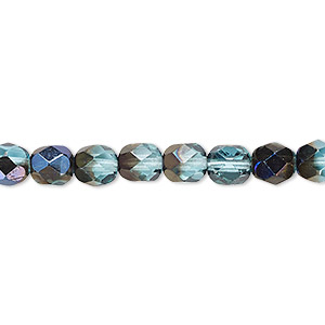 bead, czech fire-polished glass, teal blue iris, 6mm faceted round. sold per 16-inch strand.