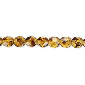 bead, czech fire-polished glass, tortoise, 6mm faceted round. sold per 16-inch strand, approximately 65 beads.