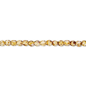 bead, czech fire-polished glass, tortoise gold, 3mm faceted round. sold per pkg of 1,200 (1 mass).