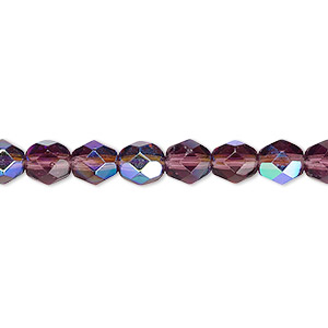 bead, czech fire-polished glass, translucent amethyst purple ab, 6mm faceted round. sold per pkg of 1,200 (1 mass).
