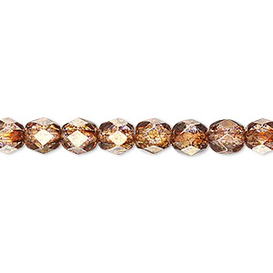bead, czech fire-polished glass, translucent copper luster, 6mm faceted round. sold per 16-inch strand.