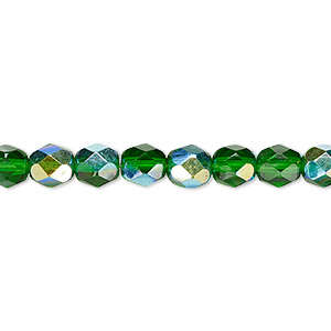 bead, czech fire-polished glass, translucent emerald green ab, 6mm faceted round. sold per 16-inch strand.