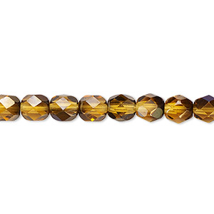 bead, czech fire-polished glass, translucent honey blue iris, 6mm faceted round. sold per pkg of 1,200 (1 mass).