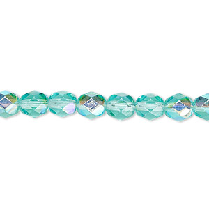 bead, czech fire-polished glass, translucent light aqua ab, 6mm faceted round. sold per 16-inch strand.