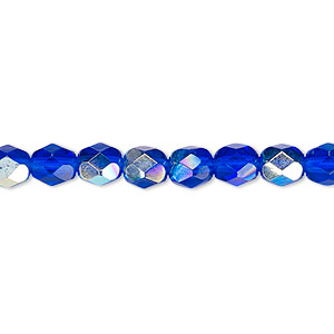 bead, czech fire-polished glass, translucent light cobalt ab, 6mm faceted round. sold per 16-inch strand.