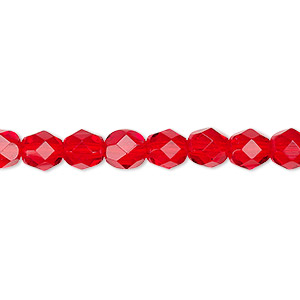 bead, czech fire-polished glass, translucent light red, 6mm faceted round. sold per 16-inch strand, approximately 65 beads.