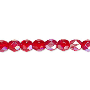 bead, czech fire-polished glass, translucent light red ab, 6mm faceted round. sold per pkg of 1,200 (1 mass).