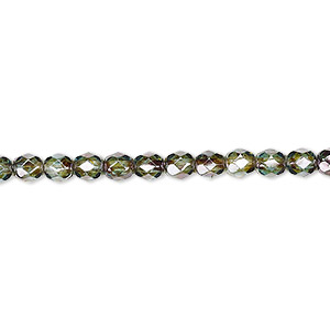 bead, czech fire-polished glass, translucent peridot green, 4mm faceted round. sold per 16-inch strand, approximately 100 beads.