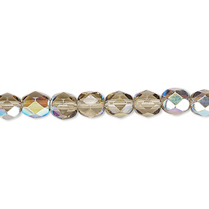 bead, czech fire-polished glass, translucent smoke ab, 6mm faceted round. sold per pkg of 1,200 (1 mass).
