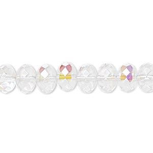 bead, czech fire-polished glass, transparent clear ab, 9x5mm faceted rondelle. sold per 16-inch strand.