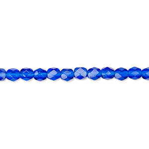bead, czech fire-polished glass, transparent cobalt, 4mm faceted round. sold per 16-inch strand, approximately 100 beads.
