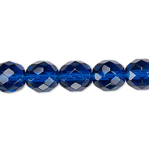 bead, czech fire-polished glass, transparent dark aqua blue, 10mm faceted round. sold per 16-inch strand, approximately 40 beads.