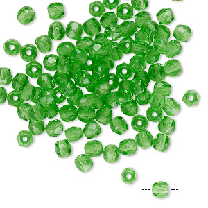 bead, czech fire-polished glass, transparent green, 4mm faceted round. sold per pkg of 100.