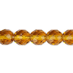 bead, czech fire-polished glass, transparent honey, 10mm faceted round. sold per 16-inch strand, approximately 40 beads.