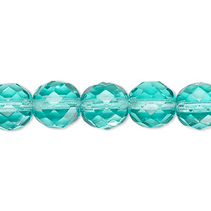 bead, czech fire-polished glass, transparent light aqua, 10mm faceted round. sold per 16-inch strand, approximately 40 beads.