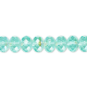 bead, czech fire-polished glass, transparent light aqua ab, 9x5mm faceted rondelle. sold per 16-inch strand.