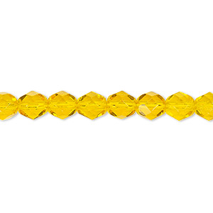 bead, czech fire-polished glass, transparent yellow, 6mm faceted round. sold per 16-inch strand, approximately 65 beads.