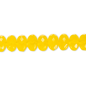 bead, czech fire-polished glass, transparent yellow, 9x5mm faceted rondelle. sold per 16-inch strand.