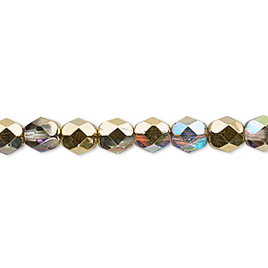 bead, czech fire-polished glass, two-tone clear ab and metallic amber gold, 6mm faceted round. sold per 16-inch strand.