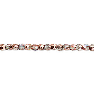 bead, czech fire-polished glass, two-tone clear ab and metallic capri gold, 3mm faceted round. sold per 16-inch strand.