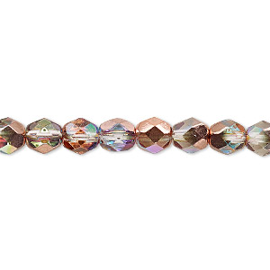 bead, czech fire-polished glass, two-tone clear ab and metallic capri gold, 6mm faceted round. sold per 16-inch strand.