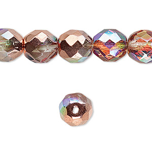 bead, czech fire-polished glass, two-tone clear ab and metallic capri gold, 10mm faceted round. sold per 16-inch strand.