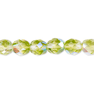 bead, czech fire-polished glass, two-tone, crystal / peridot green ab, 8mm faceted round. sold per pkg of 1/2 mass.