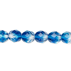bead, czech fire-polished glass, two-tone, crystal/aqua, 8mm faceted round. sold per 16-inch strand.