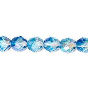 bead, czech fire-polished glass, two-tone, crystal/aqua ab, 8mm faceted round. sold per 16-inch strand.