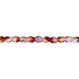 bead, czech fire-polished glass, two-tone, crystal/brown-red ab, 4mm faceted round. sold per 16-inch strand.