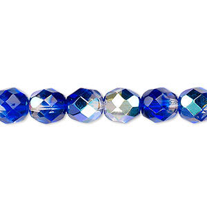 bead, czech fire-polished glass, two-tone, crystal/dark blue ab, 8mm faceted round. sold per 16-inch strand.
