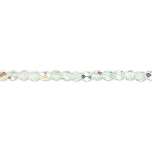 bead, czech fire-polished glass, two-tone, crystal/green ab, 3mm faceted round. sold per 16-inch strand.
