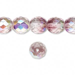 bead, czech fire-polished glass, two-tone, crystal/lavender ab, 10mm faceted round. sold per 16-inch strand.