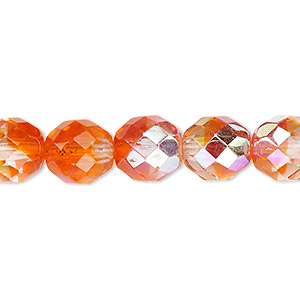 bead, czech fire-polished glass, two-tone, crystal/orange ab, 10mm faceted round. sold per 16-inch strand.
